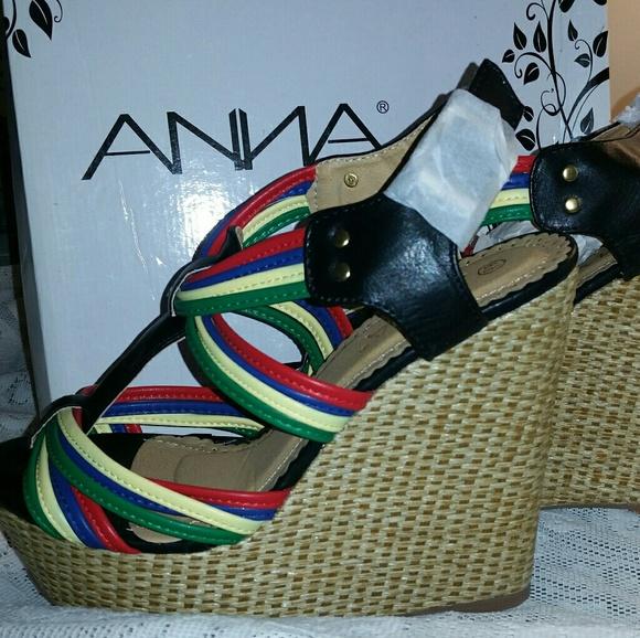 2eadc1ba34af ANNA Shoes - NIB ANNA Mia Multi-Color Strappy Wedge Heels
